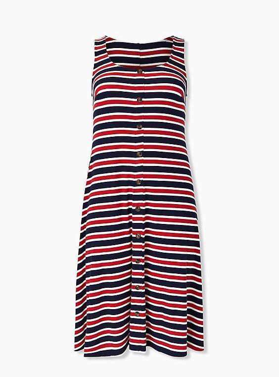 Red White & Blue Stripe Rib Button Midi Dress, , hi-res