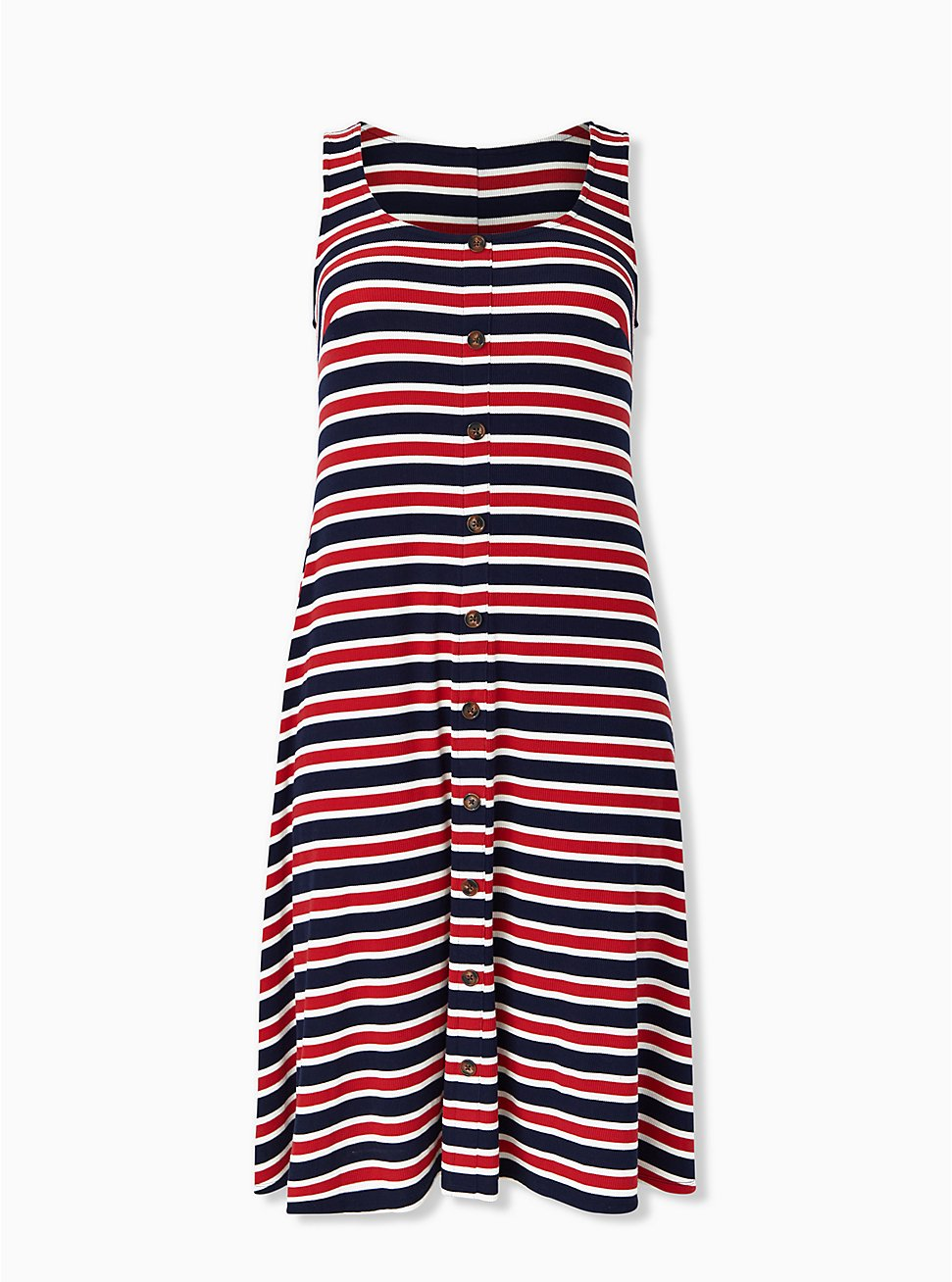 Red White & Blue Stripe Rib Button Midi Dress, STRIPE - MULTI, hi-res