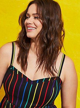 Celebrate Love Black Rainbow Stripe Challis Midi Dress, STRIPE - MULTI, alternate