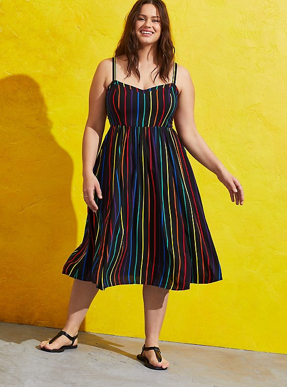 Celebrate Love Black Rainbow Stripe Challis Midi Dress, , hi-res