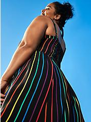 Celebrate Love Black Rainbow Stripe Challis Midi Dress, STRIPE - MULTI, hi-res