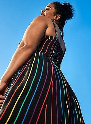 Celebrate Love Black Rainbow Stripe Challis Midi Dress, STRIPE - MULTI, pdped