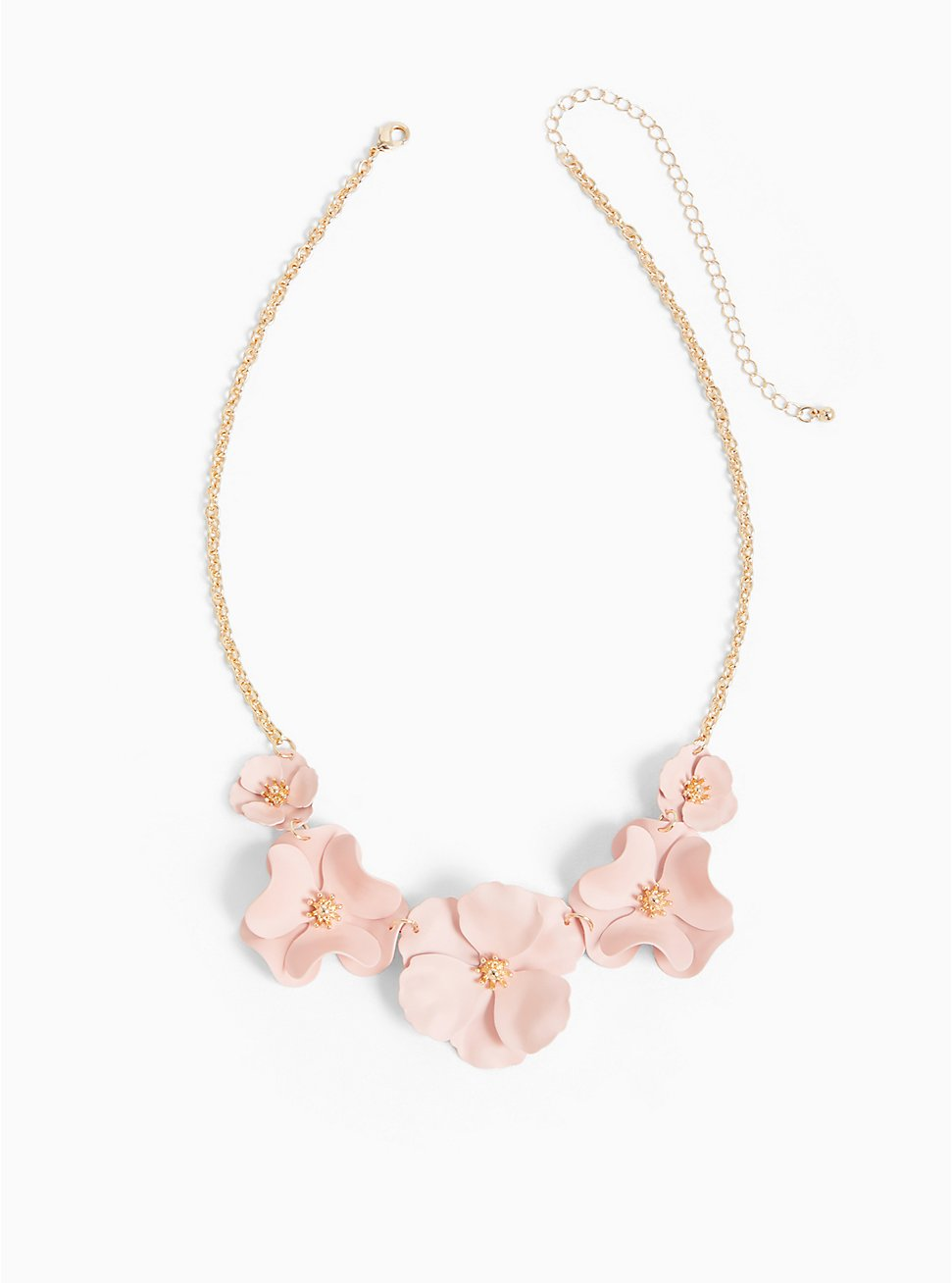 Plus Size Gold-Tone & Pink Matte Floral Statement Necklace, , hi-res