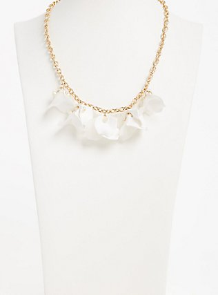 Plus Size White Floral Petal Statement Necklace, , alternate