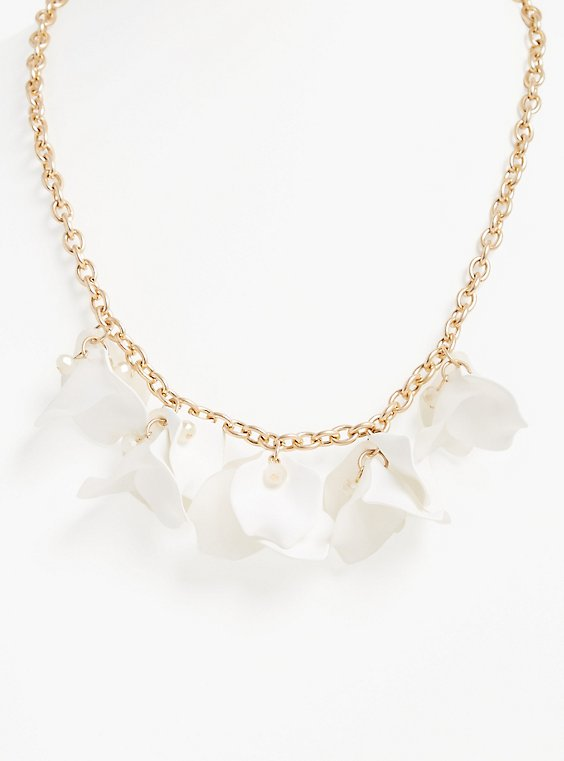 White Floral Petal Statement Necklace, , hi-res