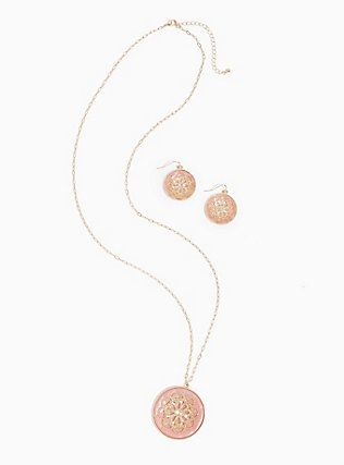 Peach & Gold-Tone Floral Filigree Necklace & Earrings Set, , alternate
