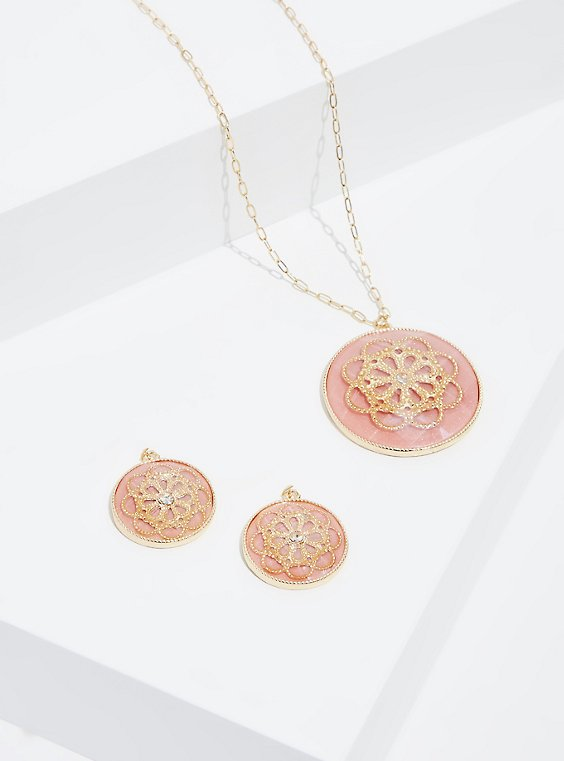 Plus Size Peach & Gold-Tone Floral Filigree Necklace & Earrings Set, , hi-res