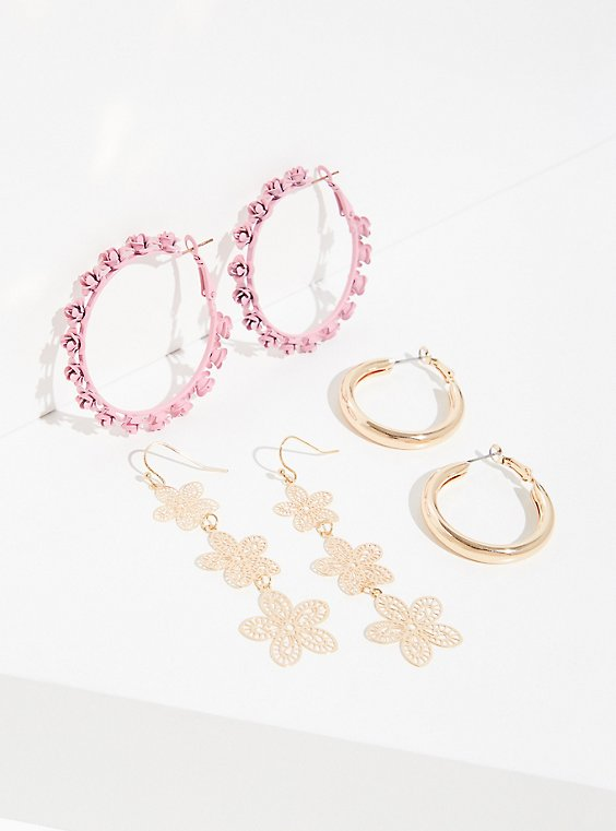 Plus Size Pink Rosette Hoop Earrings Set- Set of 3, , hi-res