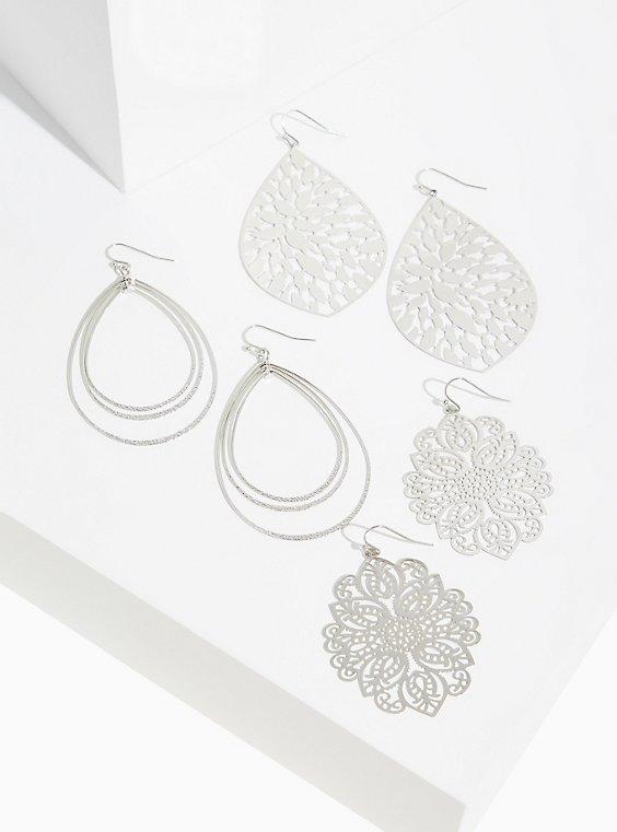 Plus Size Silver-Tone Filigree Earrings Set - Set of 3, , hi-res