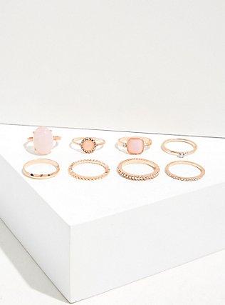 Rose-Gold & Peach Stone Ring Set - Set of 8, ROSE GOLD, alternate