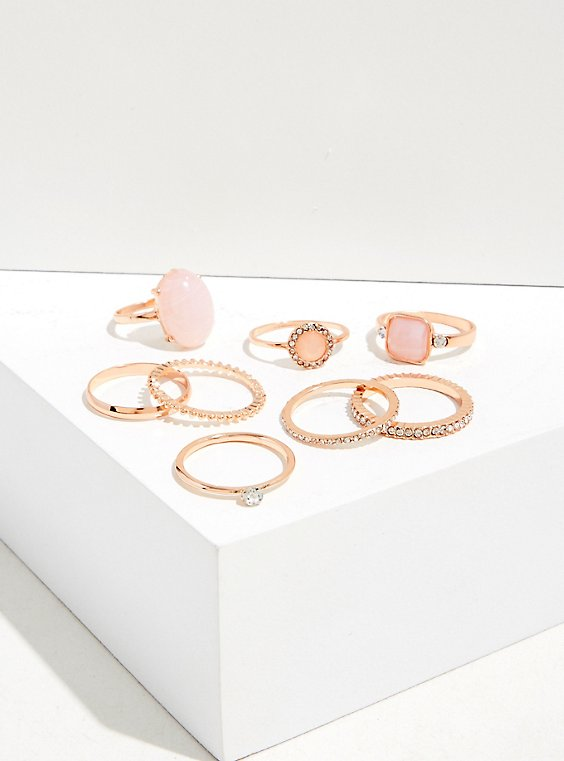 Plus Size Rose-Gold & Peach Pink Stone Ring Set - Set of 8, , hi-res