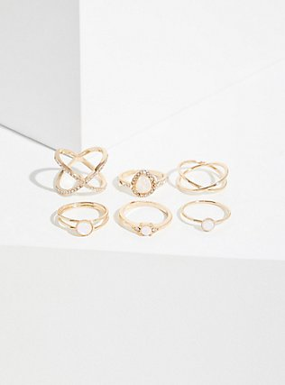 Plus Size Gold-Tone Faux Opal Teardrop Ring Set - Set of 6, GOLD, alternate