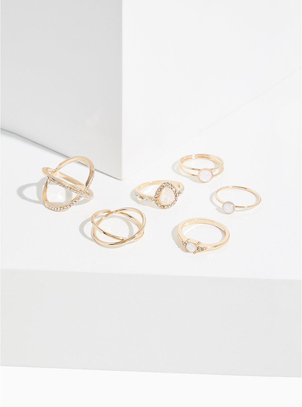 Gold-Tone Faux Opal Teardrop Ring Set - Set of 6, , hi-res