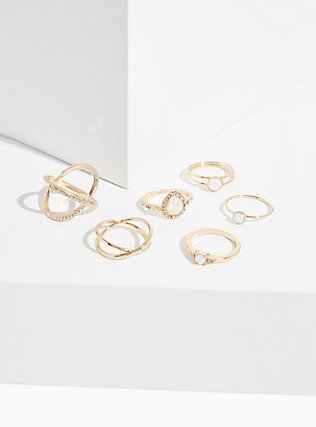 Plus Size Gold-Tone Faux Opal Teardrop Ring Set - Set of 6, GOLD, hi-res