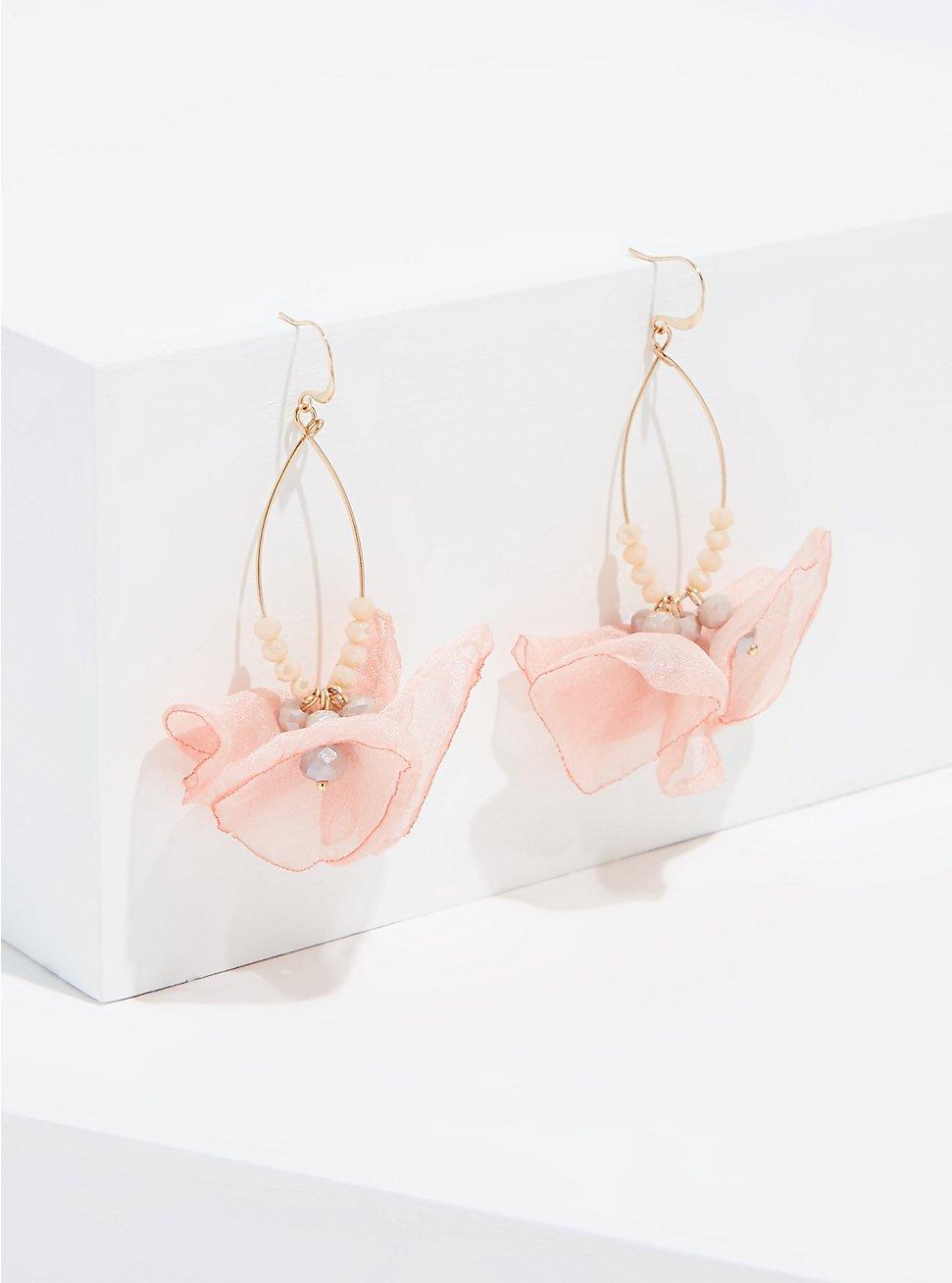 Plus Size Blush Pink Floral Drop Earrings, , hi-res