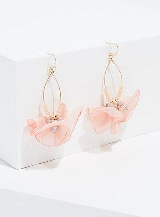Blush Pink Floral Drop Earrings, , hi-res