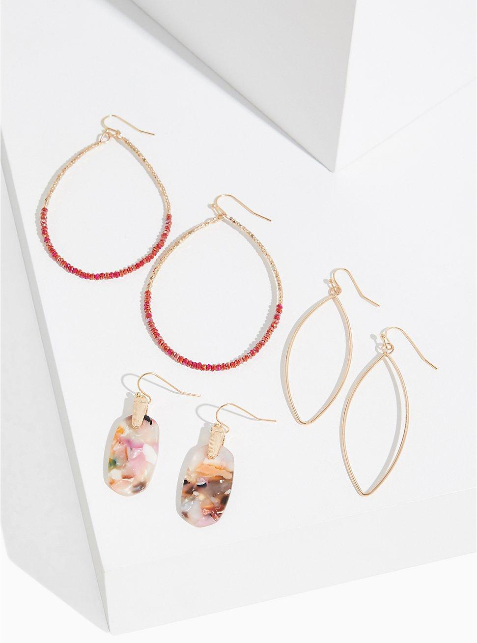 Drop Resin Earrings Set - Set of 3, , hi-res