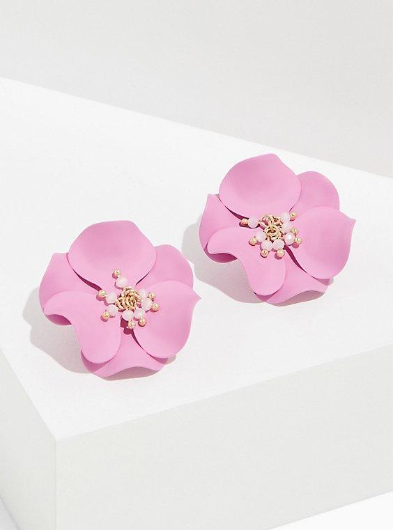 Lavender Purple Matte Floral Earrings, , hi-res