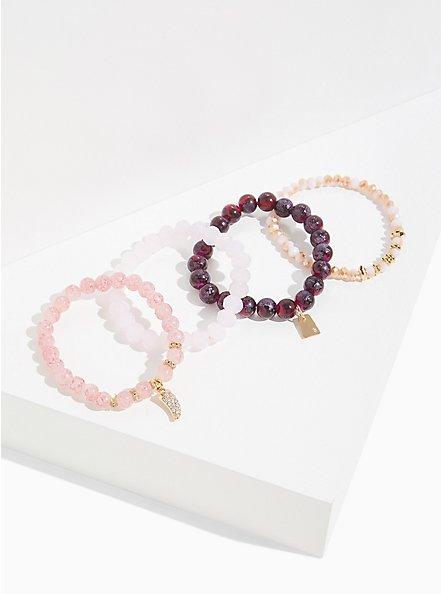 Plus Size Pink Bead Stretch Bracelet Set - Set of 4, PURPLE, hi-res