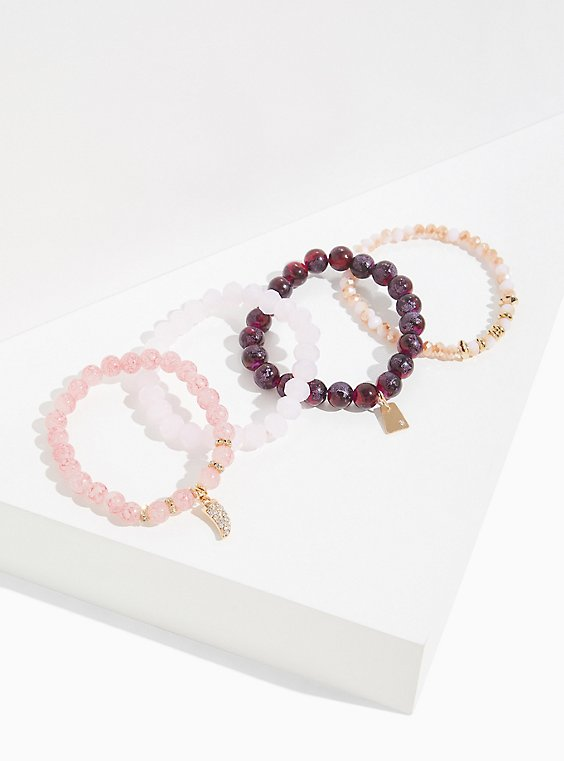 Plus Size Pink Bead Stretch Bracelet Set - Set of 4, , hi-res