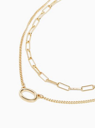 Gold-Tone Link Layered Necklace, , alternate