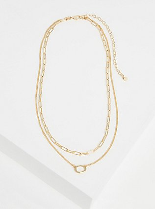 Plus Size Gold-Tone Link Layered Necklace, , hi-res