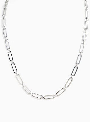 Plus Size Silver-Tone Chain Link Necklace, , alternate