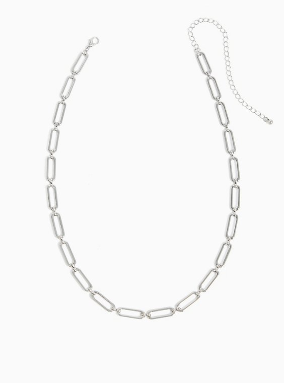 Silver-Tone Chain Link Necklace, , hi-res