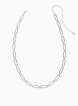 Plus Size Silver-Tone Chain Link Necklace, , hi-res