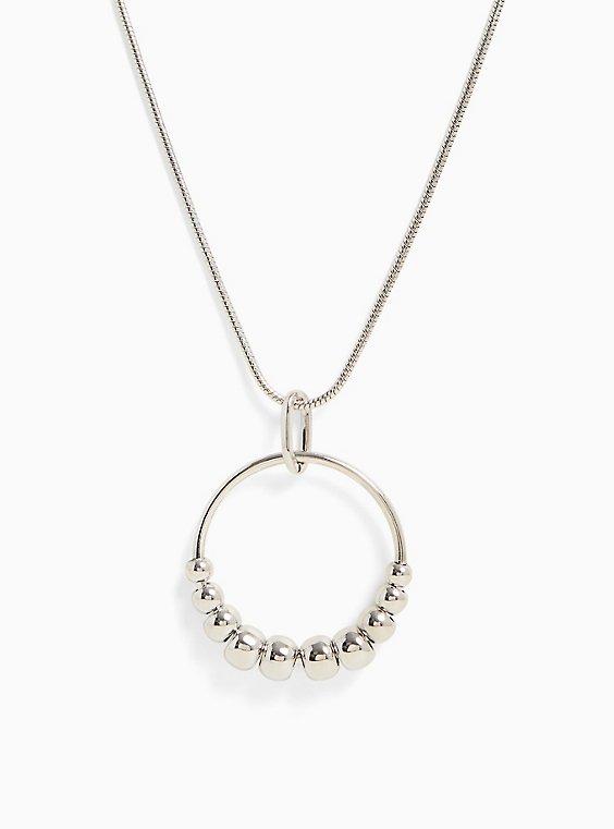 Silver-Tone Bead Pendant Necklace, , hi-res