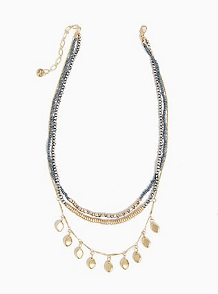 Gold-Tone & Slate Grey Beaded Layered Necklace, , alternate