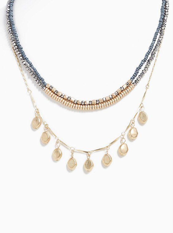 Plus Size Gold-Tone & Slate Grey Beaded Layered Necklace, , hi-res