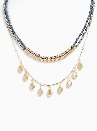Gold-Tone & Slate Grey Beaded Layered Necklace, , hi-res