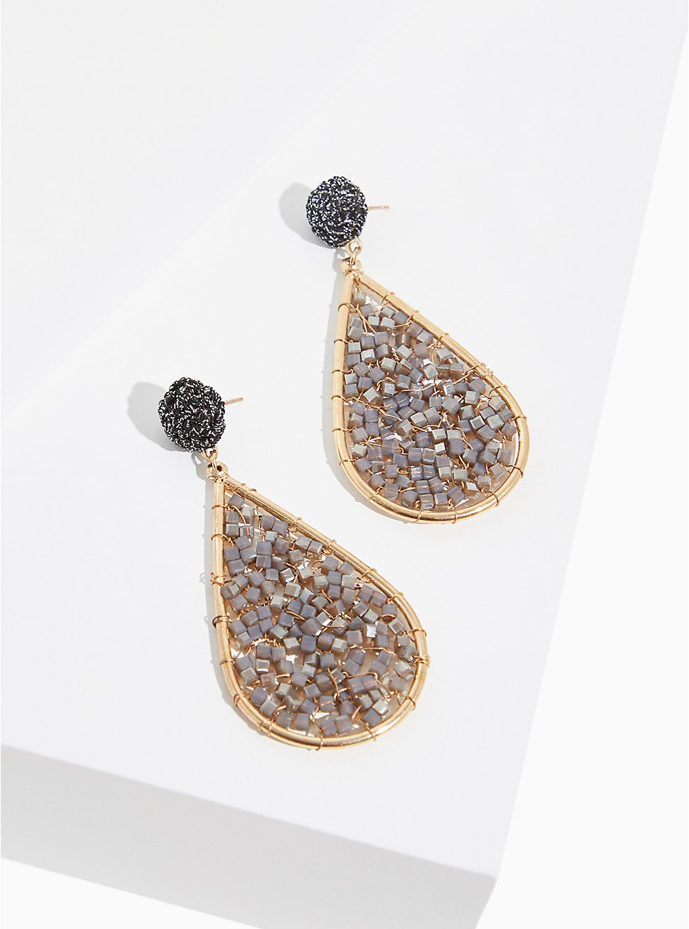 Plus Size Gold-Tone & Grey Beaded Teardrop Earrings, , hi-res