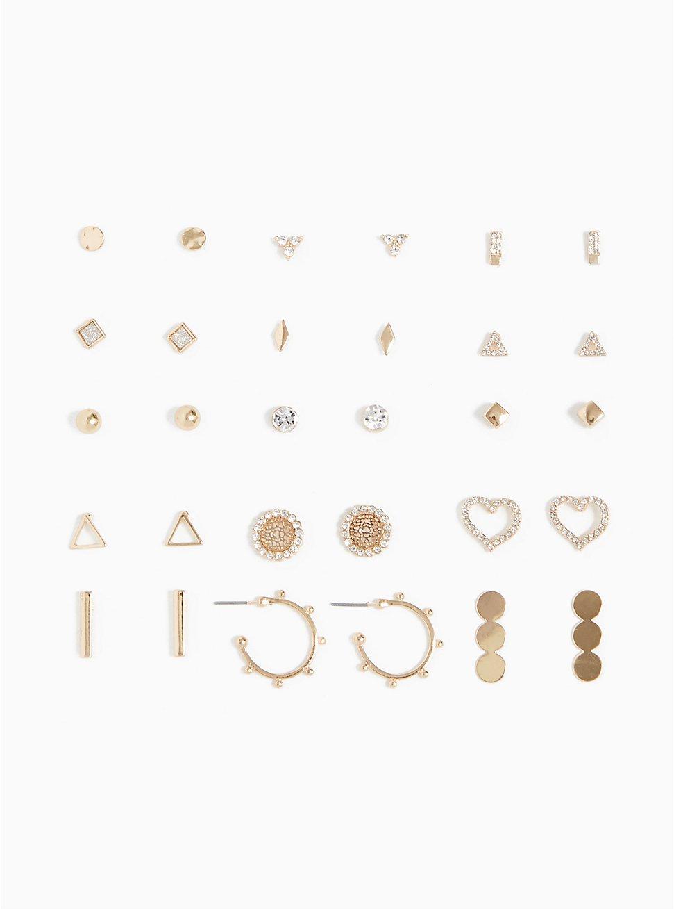 Gold-Tone Triangle Stud & Huggie Earrings Set - Set of 15, , hi-res