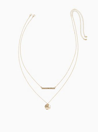 Plus Size Gold-Tone Bar Layered Necklace, , hi-res