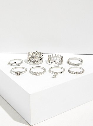 Plus Size Silver-Tone Filigree Ring Set - Set of 8, SILVER, alternate