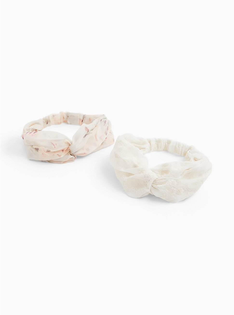 Ivory Floral Twist Front Headband Pack - Pack of 2, , hi-res