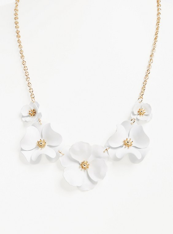 Plus Size White Matte Floral Statement Necklace, , hi-res