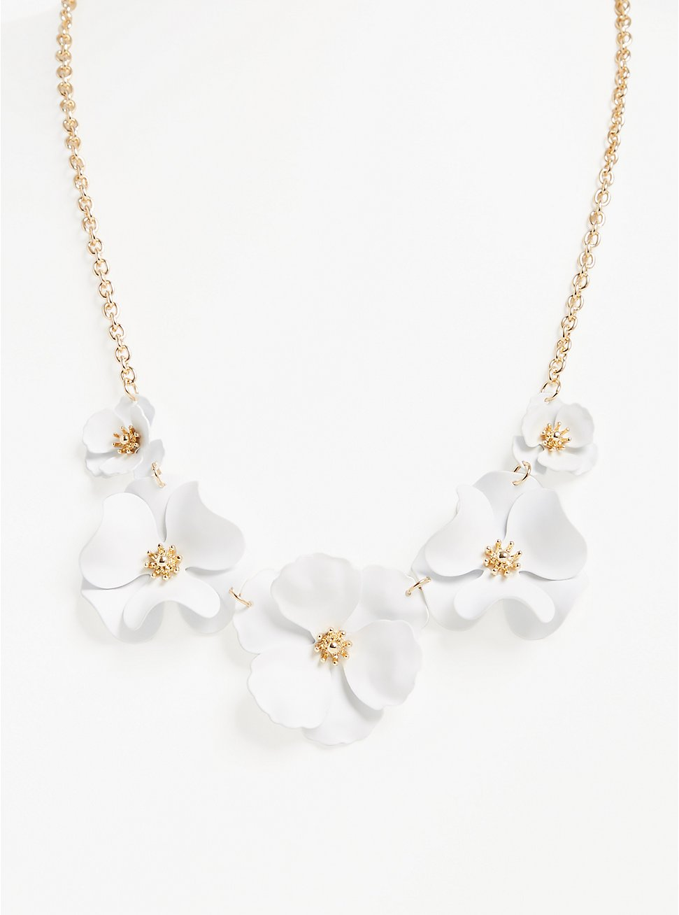 White Matte Floral Statement Necklace, , hi-res