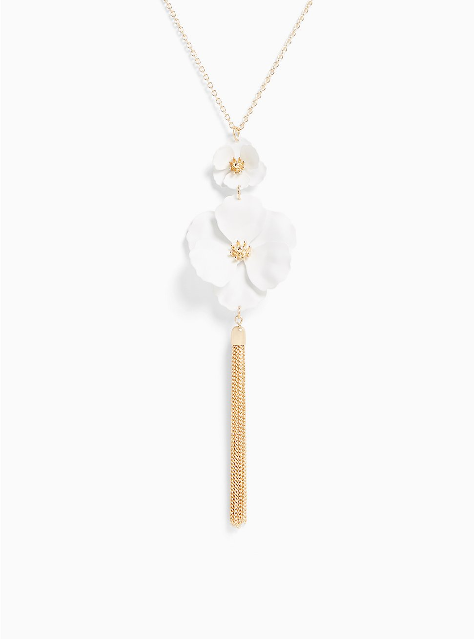 White Matte Floral Pendant Necklace, , hi-res