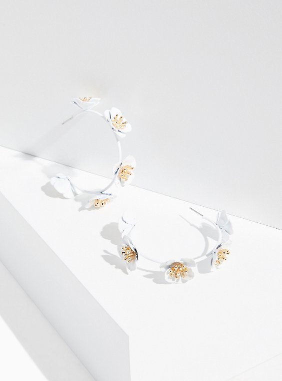 Plus Size White Matte Floral Hoop Earrings, , hi-res