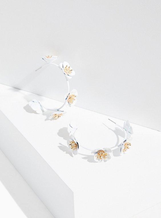 White Matte Floral Hoop Earrings, , hi-res