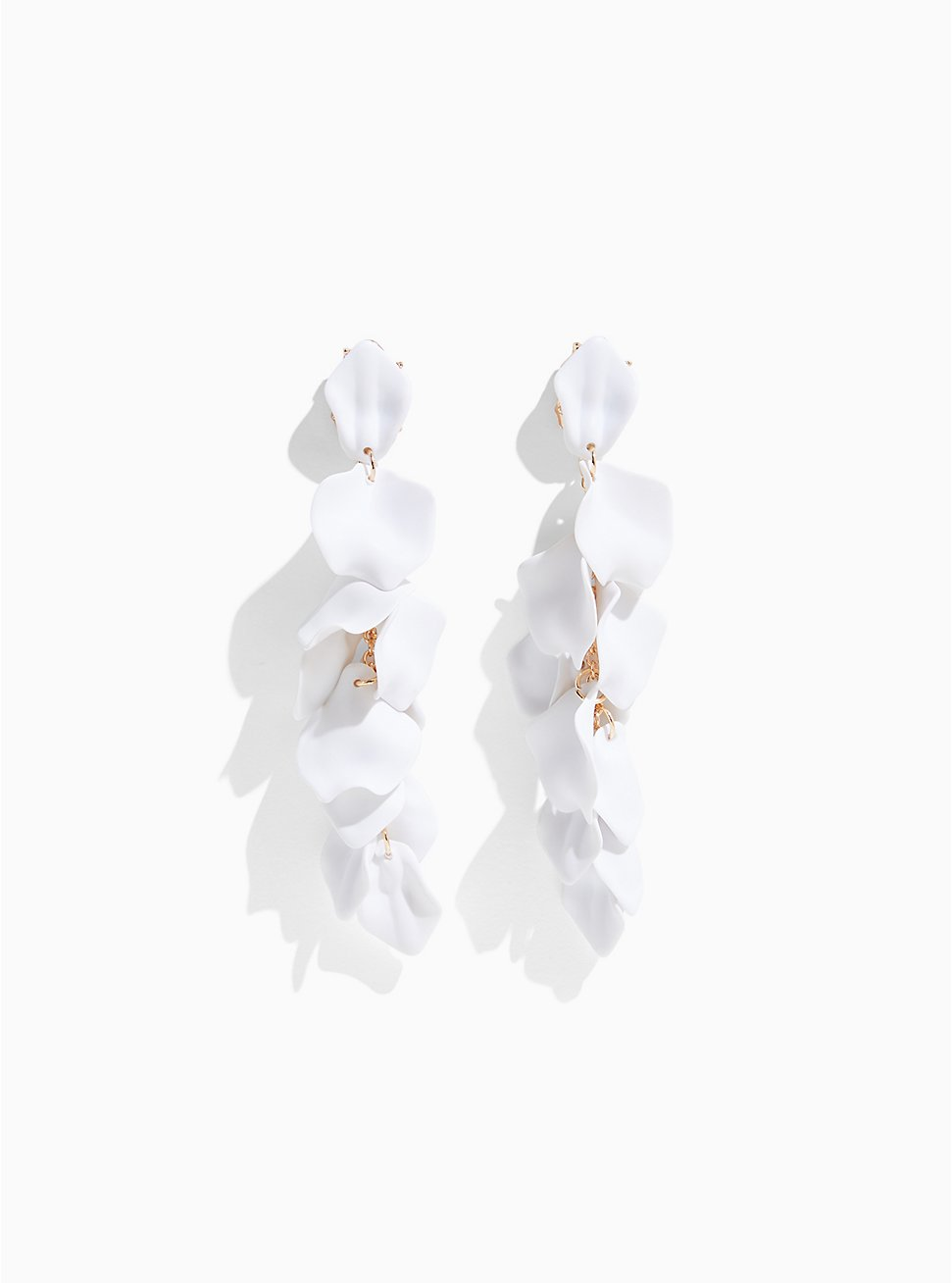 White Matte Petal Drop Earrings, , hi-res