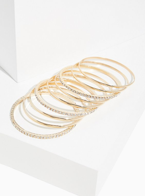 Plus Size Gold-Tone Rhinestone Bangle Set- Set Of 9, , hi-res
