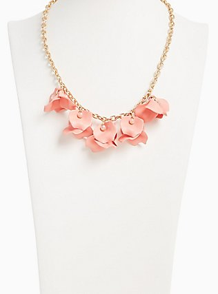 Gold-Tone & Coral Matte Petal Statement Necklace, , alternate