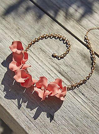 Gold-Tone & Coral Matte Petal Statement Necklace, , pdped