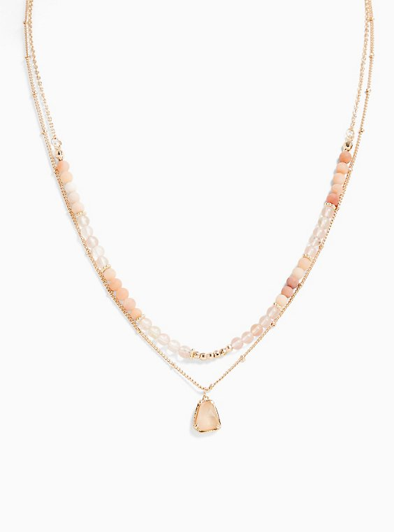 Plus Size Gold-Tone & Peach Beaded Layered Necklace, , hi-res