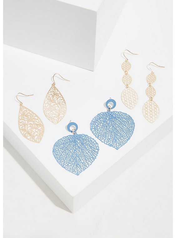 Plus Size Matte Blue Filigree Dangle Earrings Set - Set of 3, , hi-res