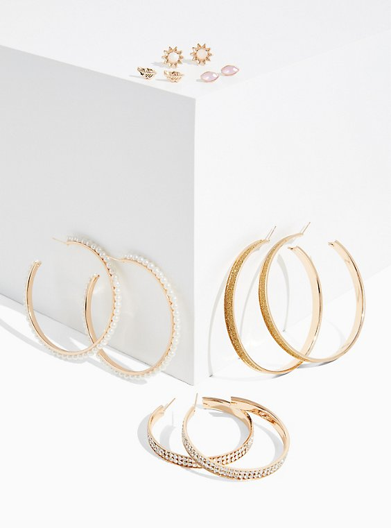 Plus Size Faux Pearl Hoop & Stud Earrings Set - Set Of 6 , , hi-res